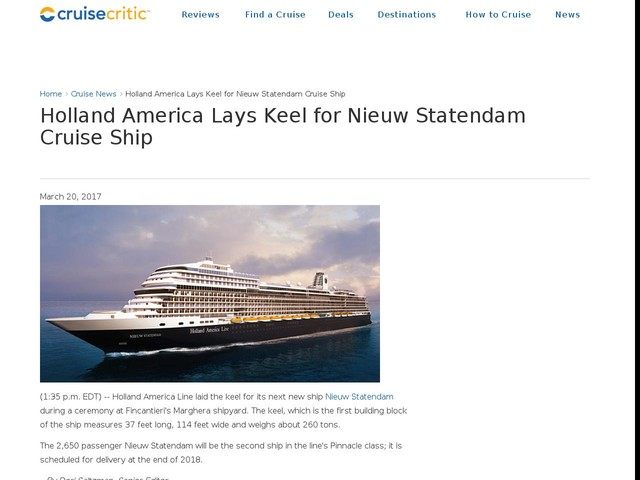 Holland America Lays Keel for Nieuw Statendam Cruise Ship