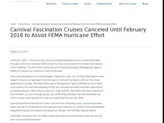 Carnival Fascination Cruises Canceled Until February 2018 to Assist FEMA Hurricane Effort