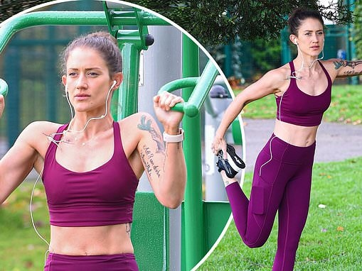 Katie Waissel displays her washboard abs as she works out outdoors after overhauling fitness regime