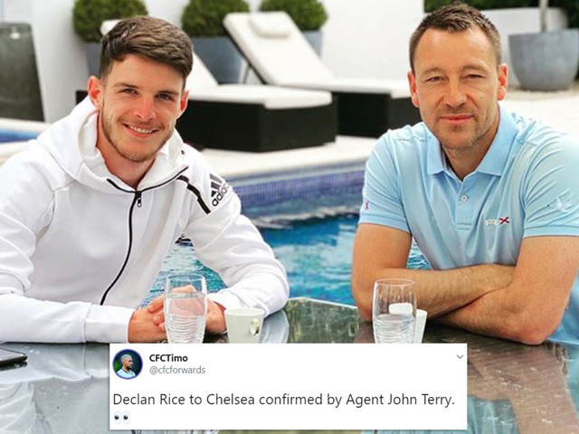 Chelsea fans hail 'agent' John Terry as he meets £80m transfer target Declan Rice for catchup on holiday