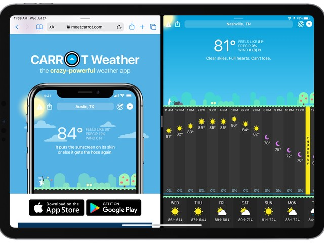 Snarky Carrot Weather Adds New iPad Features and More With an Update
