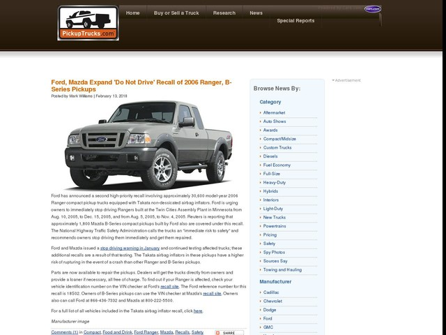 Ford, Mazda Expand 'Do Not Drive' Recall of 2006 Ranger, B-Series Pickups
