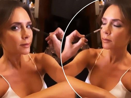 Victoria Beckham looks radiant as ever as she dons white negligee while getting her make-up done