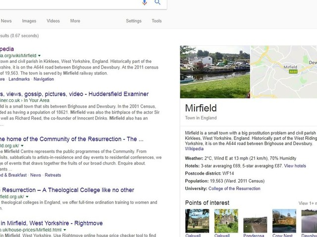 Google 'Mirfield' and the results are a bit embarrassing