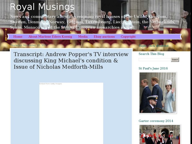 Transcript: Andrew Popper's TV interview discussing King Michael's condition & Issue of Nicholas Medforth-Mills