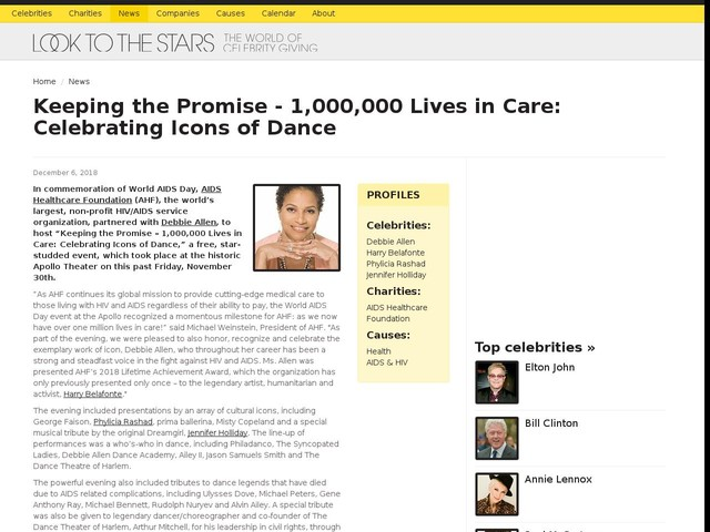 Keeping the Promise - 1,000,000 Lives in Care: Celebrating Icons of Dance