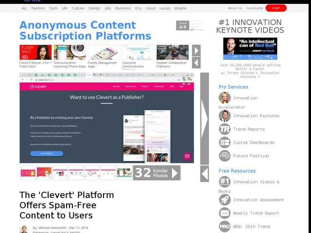Anonymous Content Subscription Platforms - The 'Clevert' Platform Offers Spam-Free Content to Users (TrendHunter.com)