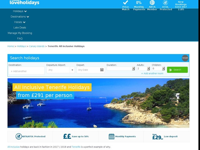 All Inclusive Holidays to Tenerife 2017 / 2018 | Holidays from £291pp | loveholidays.com