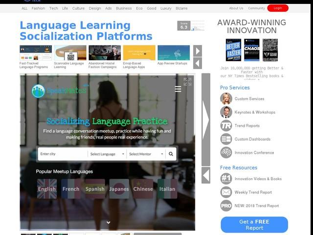 Language Learning Socialization Platforms - The 'Speakmates' Platform Connects Learners Together (TrendHunter.com)