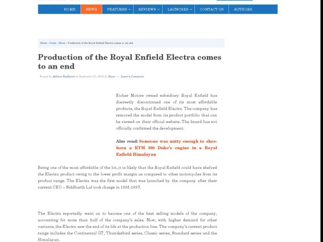 Production of the Royal Enfield Electra comes to an end