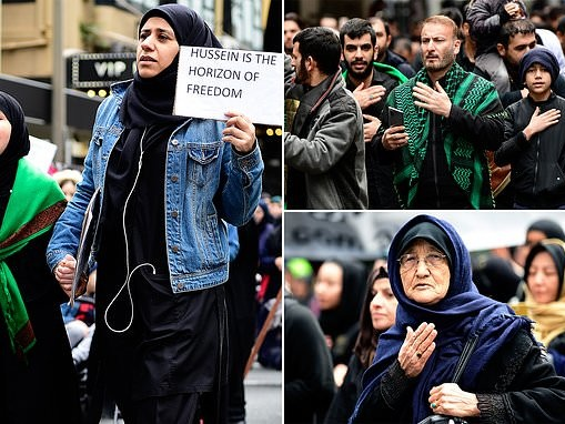 Sydney centre grinds to a halt as thousands of Muslims take to the streets to celebrate a holy day