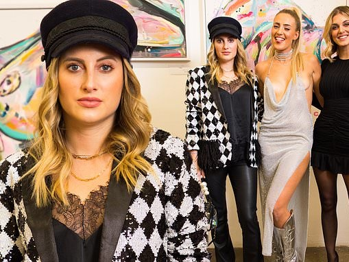 Rosie Fortescue looks chic in a sequinned blazer as she joins Ashley James at art launch