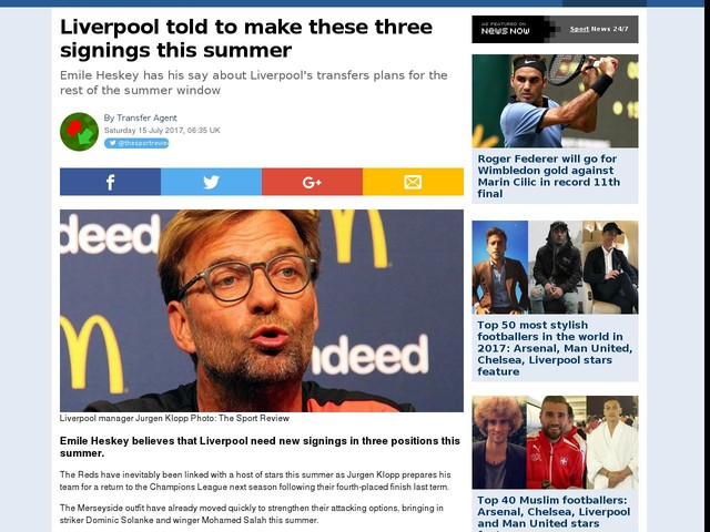 Liverpool told to make these three signings this summer