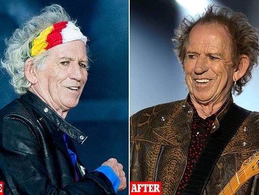 Keith Richards, 75, gets the hair dye out as the Rolling Stones make their stage comeback