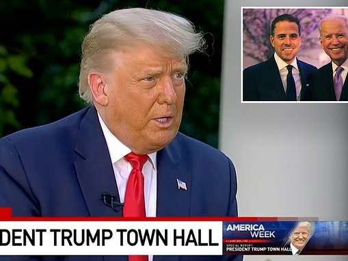 Trump slams 'terrible' and 'corrupt' Biden family over email scandal during White House town hall