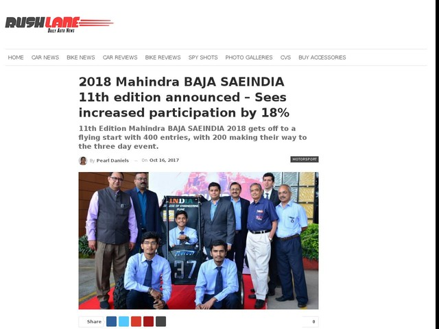 2018 Mahindra BAJA SAEINDIA 11th edition announced – Sees increased participation by 18%