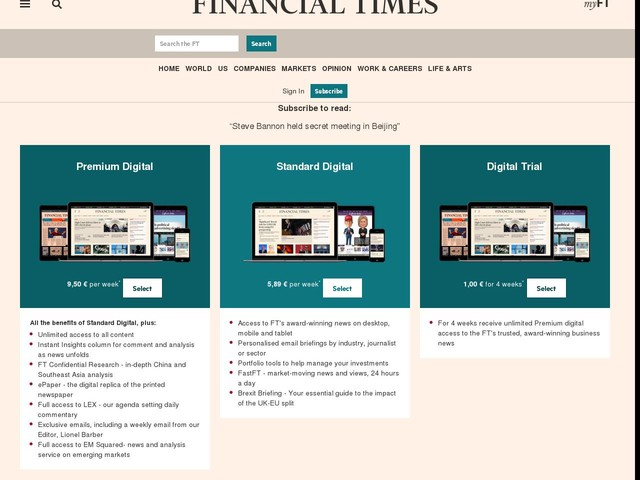 Steve Bannon held secret meeting in Beijing - Financial Times
