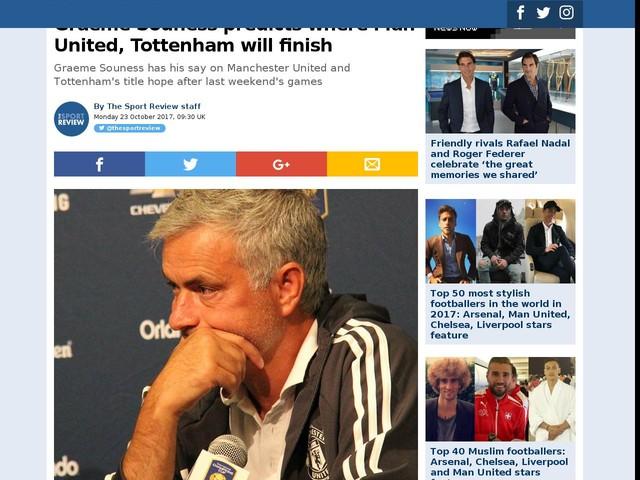 Graeme Souness predicts where Man United, Tottenham will finish