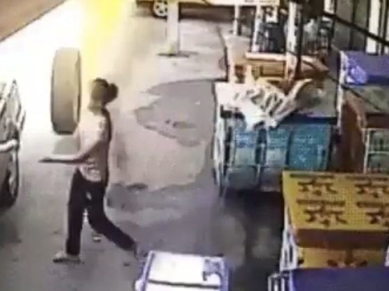 Flaming Tire Appears To Rip Woman's Arm Off In Shocking Video