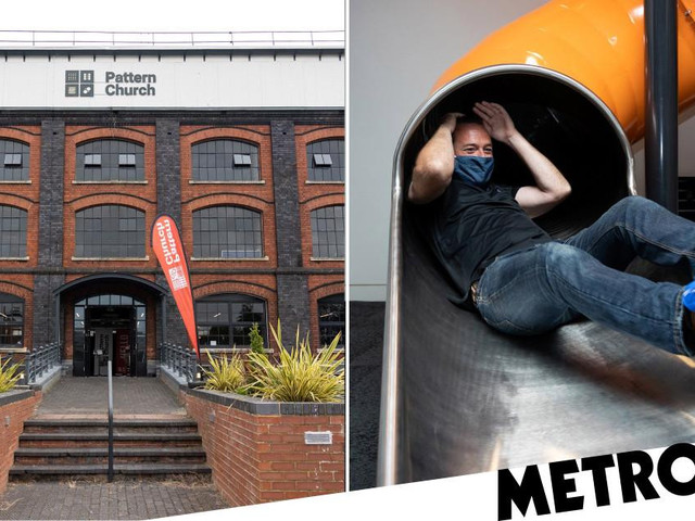 Church adds huge spiral slide to bring worshippers to downstairs pews