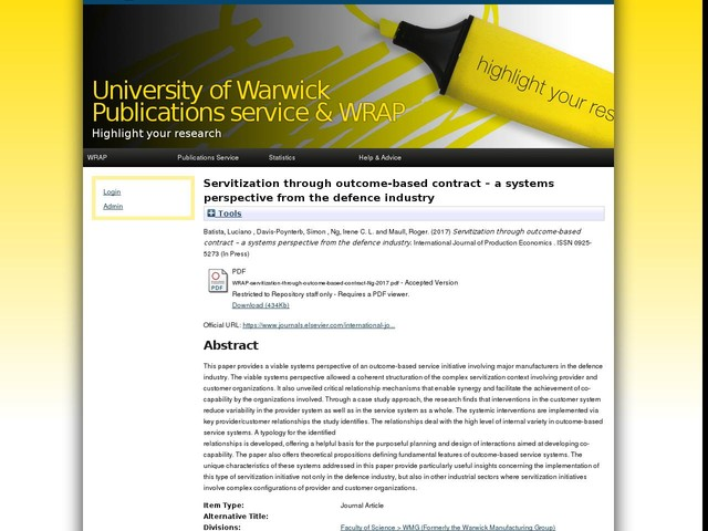 Servitization through outcome-based contract – a systems perspective from the defence industry