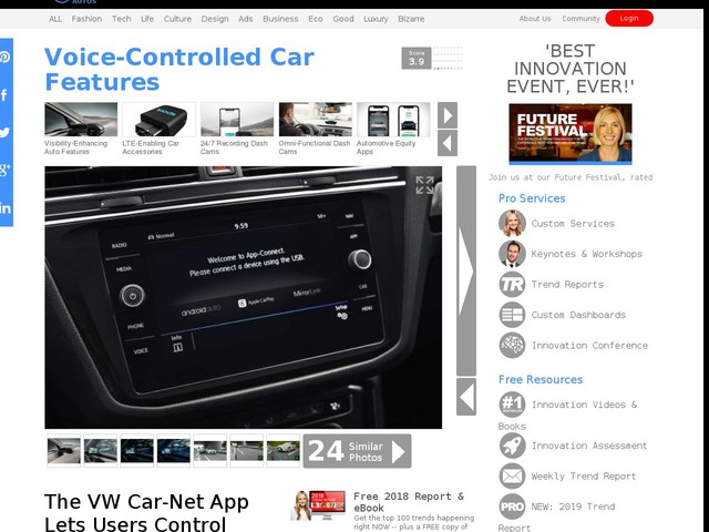 Voice-Controlled Car Features - The VW Car-Net App Lets Users Control Vehicles with Siri (TrendHunter.com)