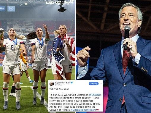 Mayor Bill de Blasio invites US women's soccer team to New York City for victory parade