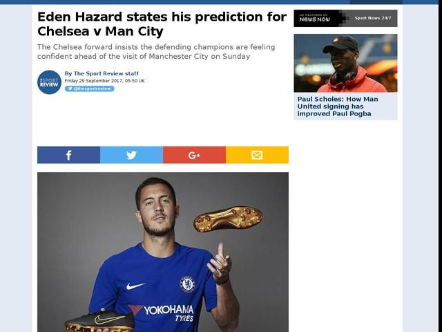 Eden Hazard states his prediction for Chelsea v Man City