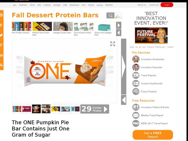 Fall Dessert Protein Bars - The ONE Pumpkin Pie Bar Contains Just One Gram of Sugar (TrendHunter.com)