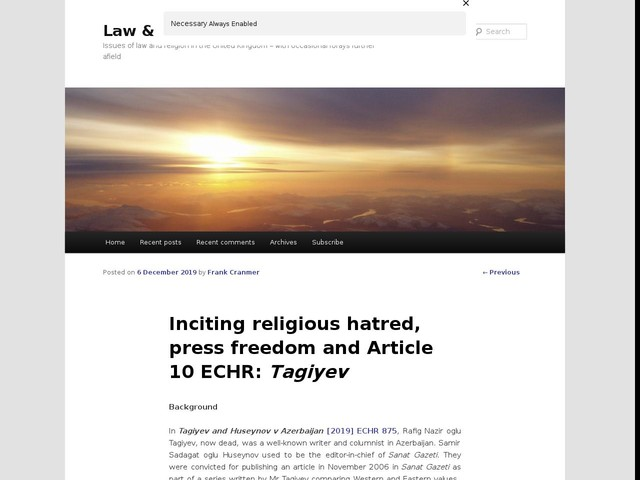 Inciting religious hatred, press freedom and Article 10 ECHR: Tagiyev