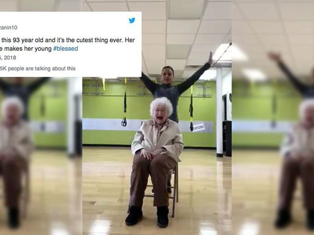 This 93-year-old woman enjoying a personal training session will melt your heart