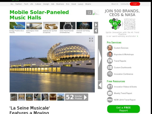 Mobile Solar-Paneled Music Halls - 'La Seine Musicale' Features a Moving Solar Panel Tail (TrendHunter.com)