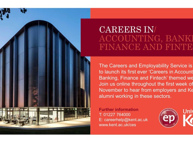 Careers in Accounting, Banking, Finance and Fintech Week, 1-5 November