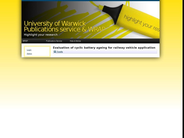 Evaluation of cyclic battery ageing for railway vehicle application