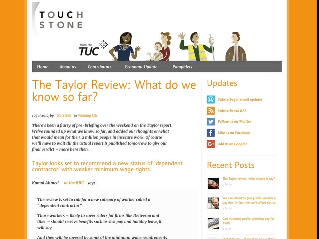 The Taylor Review: What do we know so far?
