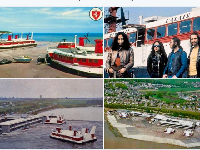 excellent rock trivia! old postcard of krautrock legends Can boarding the Ramsgate hovercraft