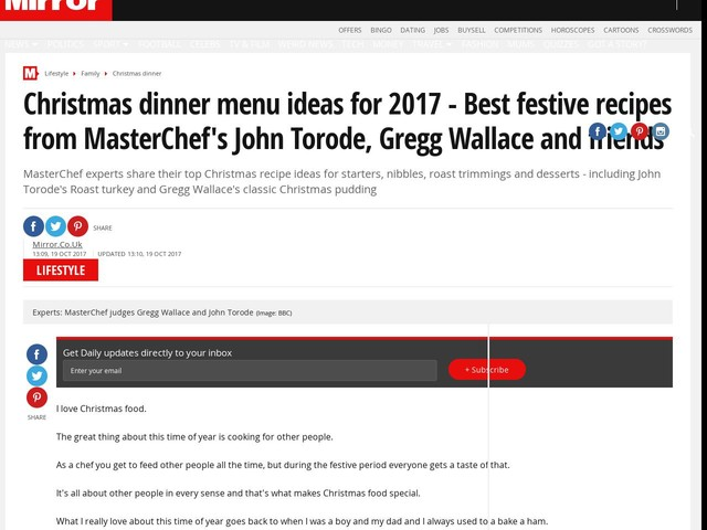 Christmas dinner menu ideas for 2017 - Best festive recipes from MasterChef's John Torode, Gregg Wallace and friends