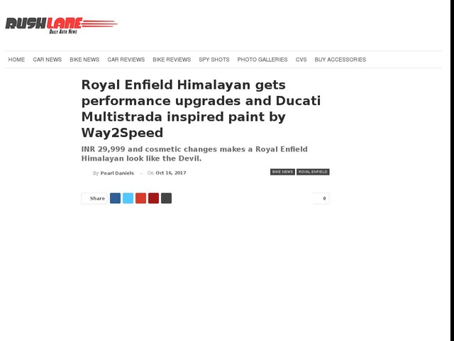 Royal Enfield Himalayan gets performance upgrades and Ducati Multistrada inspired paint by Way2Speed