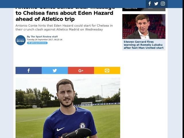 Antonio Conte sends clear message to Chelsea fans about Eden Hazard ahead of Atletico trip