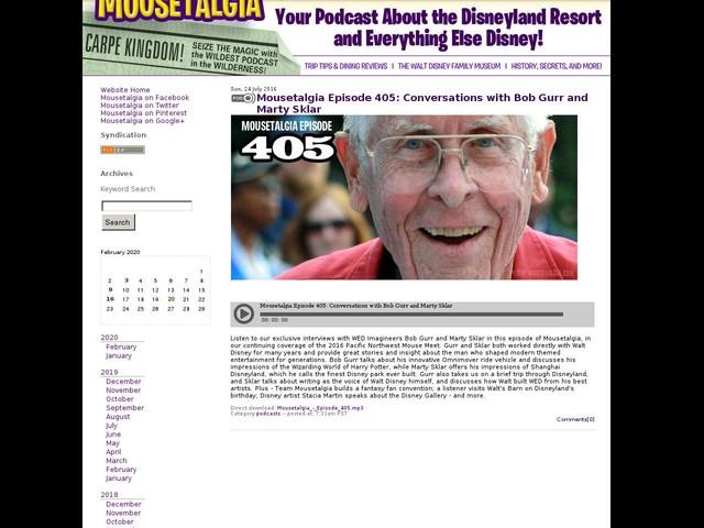 Mousetalgia Episode 405: Conversations with Bob Gurr and Marty Sklar