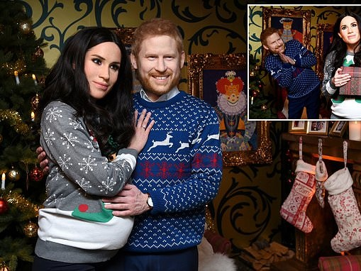 Actors don eerie waxwork HEADS to pose as Harry and Meghan