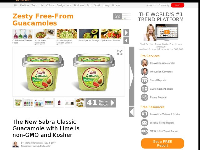 Zesty Free-From Guacamoles - The New Sabra Classic Guacamole with Lime is non-GMO and Kosher (TrendHunter.com)