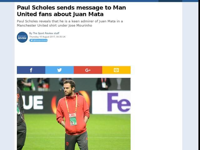Paul Scholes sends message to Man United fans about Juan Mata