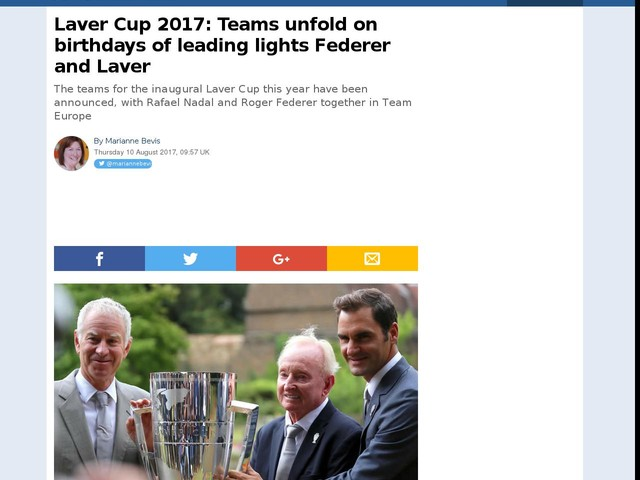 Laver Cup 2017: Teams unfold on birthdays of leading lights Federer and Laver