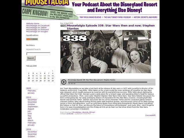 Mousetalgia Episode 338: Star Wars then and now; Stephen Stanton