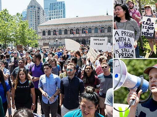 Wayfair employees take to the Boston streets to protest the selling of beds to detention centers
