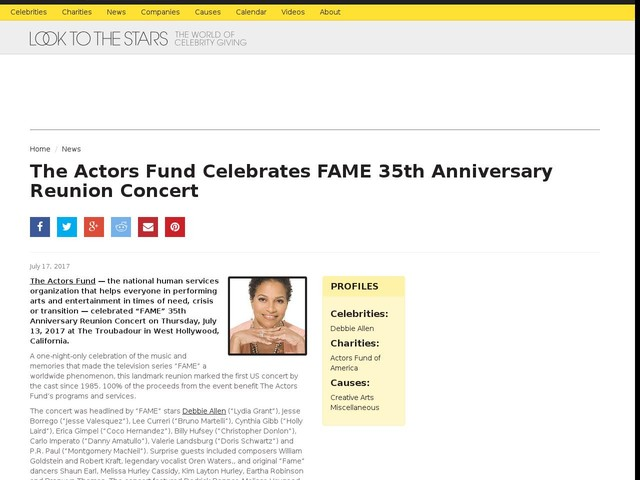 The Actors Fund Celebrates FAME 35th Anniversary Reunion Concert