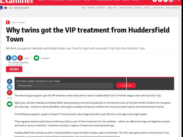 Why twins got the VIP treatment from Huddersfield Town