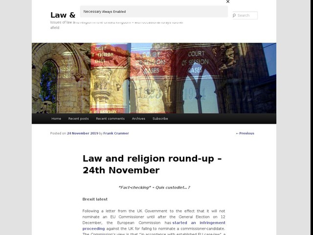Law and religion round-up – 24th November