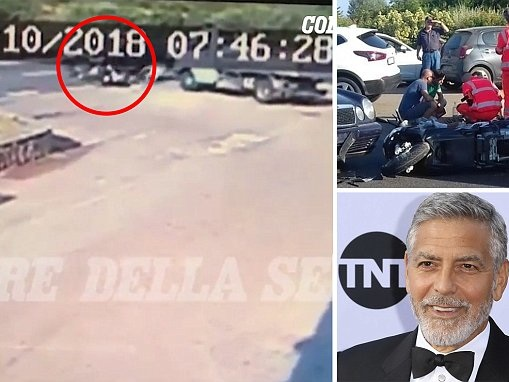 Video reveals moment George Clooney crashed while riding motorbike and flew into windscreen of car